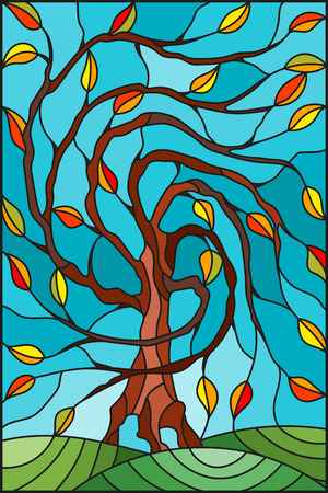 Illustration in stained glass style with autumn willow tree on sky background Illustration