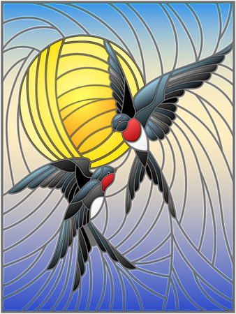 Illustration in stained glass style a pair of swallows on the background of sky and  sun Illustration