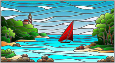 Stained glass illustration with sea views Illustration