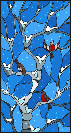 Stained glass style with bullfinches on branches Illustration