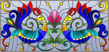 paintings: Stained glass style with a pair of roosters