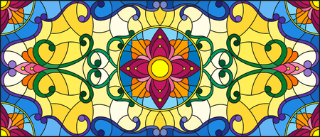 swirl: Stained glass style with abstract  swirls,flowers and leaves