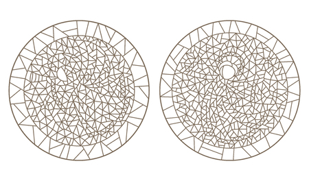 Set contour illustrations of the stained glass Windows with angels, round image