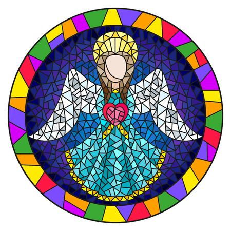 Illustratie in gebrandschilderd glasstijl met een abstracte engel in blauwe robe met een hart, ronde omlijsting in helder