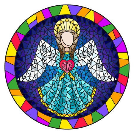 Illustration in stained glass style with an abstract angel in blue robe with a heart , round picture frame in bright