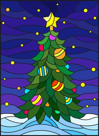 Illustration in der Buntglasart für das neue Jahr, verzierter Weihnachtsbaum mit Dekorationen auf einem Hintergrund des Schnees und des sternenklaren Himmels.