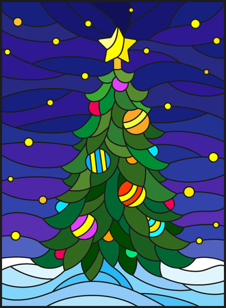 Illustration in stained glass style for the new year, decorated Christmas tree with decorations on a background of snow and starry sky. Illustration