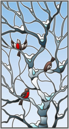 Illustration in stained glass style with bullfinches on branches of a birch tree against the sky and snow.