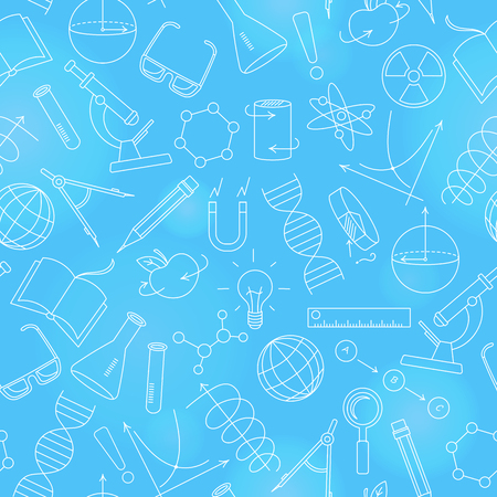 Seamless pattern on the theme of science and inventions, diagrams, charts, and equipment,  a light contour icons on blue background.