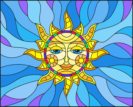 Illustration in stained glass style with fabulous sun with the face on the background of sky Illustration