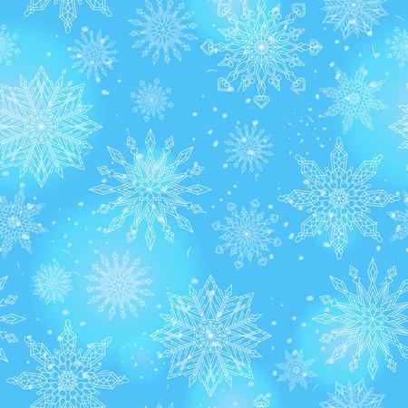 Bezszwowy wzór na temacie zima i zima wakacje kontur płatek śniegu i raca, biali płatki śniegu na błękitnym tle
