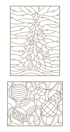 set contour illustrations of the stained glass windows on the theme of new year and christmas