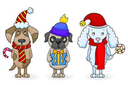 Set of cartoon dogs with Christmas attributes.