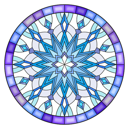 Illustration in stained glass style.