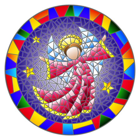 Illustration in stained glass style with an abstract angel in pink robe  , round picture frame in bright