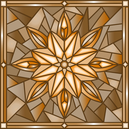 Illustration in stained glass style with snowflake ,tone, brown,Sepia Illustration