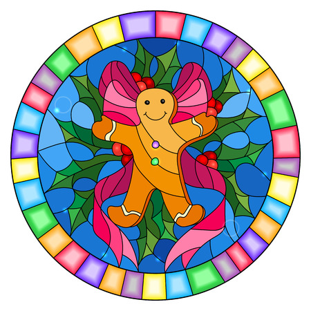 Illustration in stained glass style with a gingerbread man, ribbon and Holly branches on a blue background, round picture frame Vector Illustration