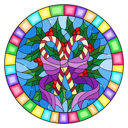 Illustration in stained glass style with lollipops Holly branches and bow on blue background, round picture frame