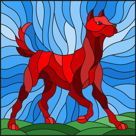 Illustration in stained glass style abstract in red dog on a background of meadows and sky