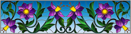 Illustration in stained glass style with abstract  swirls,purple flowers and leaves  on a sky  background,horizontal orientation Illustration