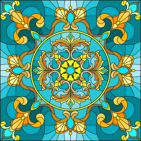 Illustratie in gebrandschilderd glasstijl, vierkant spiegelbeeld met bloemenornamenten en wervelingenna turkooise achtergrond