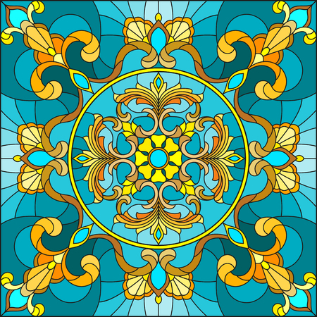 Illustration in stained glass style, square mirror image with floral ornaments and swirls n a turquoise background Illustration