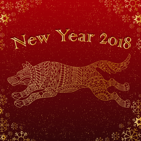 Illustration on the theme of New year,Chinese character dog on a Burgundy background with snowflakes and the words, a contour of the animal