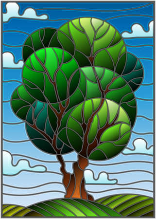 Illustration in stained glass style with tree on sky background and clouds