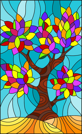 Illustration in stained glass style with with multicolored leaves on sky background