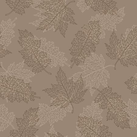 Naadloos patroon met contour kanten bruine bladeren van verschillende bomen op een beige achtergrond Stock Illustratie