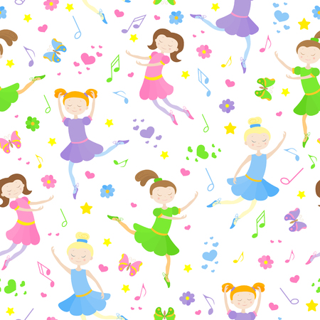 Seamless pattern on the theme of ballet and dance, cute girls dancers on a white background