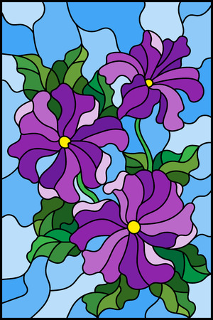 Illustration in stained glass style with three bright purple flowers of Petunia, buds and leaves on a blue background