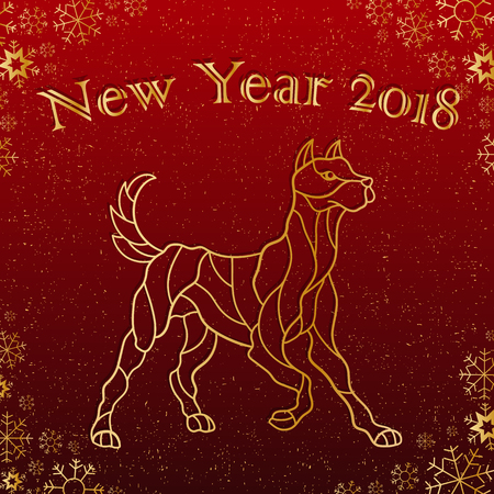 Illustration on the theme of New year Chinese ,character dog on a Burgundy background with snowflakes and the words, a contour of the animal Stock Illustratie