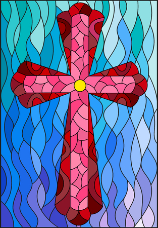 Illustration in stained glass style with a red cross on a blue wavy illustration.