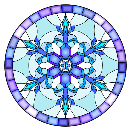 Illustration in stained glass style with snowflake in blue colors in a frame.