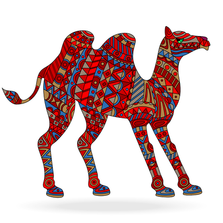 Illustration with abstract patterned camel on white background.