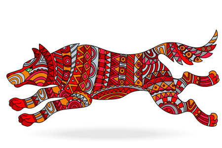 Illustration with abstract painted a red dog on a white background .