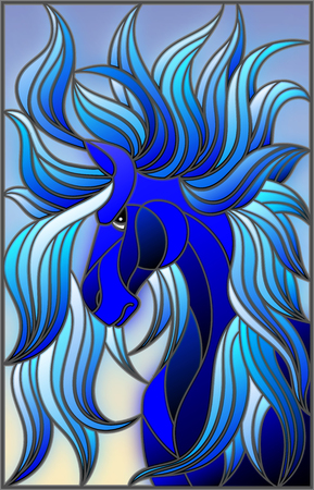 Illustration in stained glass style with abstract blue face of his horse with developing mane on sky background
