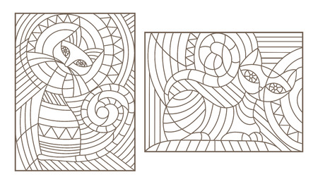 Set of outline illustrations in the style of stained glass with abstract cats