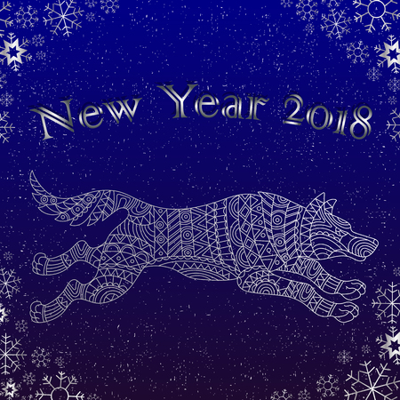 Illustration on the theme of New year,Chinese character dog on a blue background with snowflakes and the words, a contour of the animal
