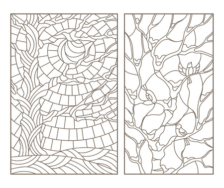 Set contour illustrations of the stained glass Windows with trees and birds , a dark outline on a white background