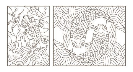 Set contour illustrations of stained glass with gold fish , black contour on white background