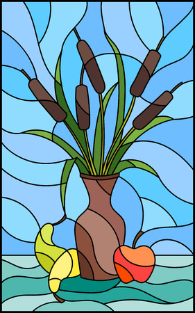 Illustration in stained glass style with bouquets of bulrush  in a brown vase , pears and apples on table on blue background Illustration