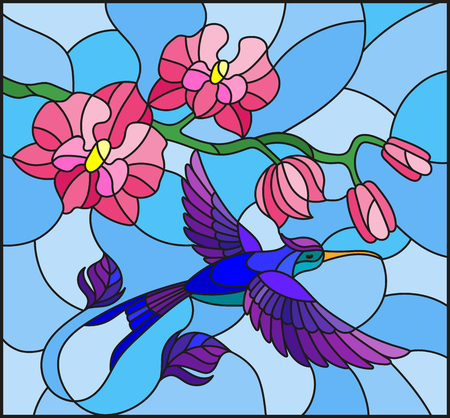 Illustration in stained glass style with a branch of pink Orchid and bright bird Hummingbird on a blue background