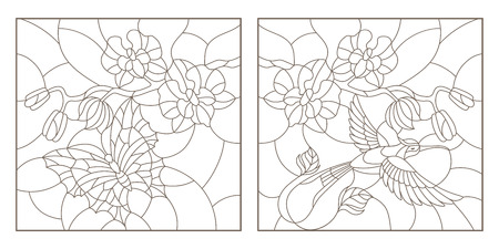 Set contour illustrations of stained glass with a sprig of orchids, a butterfly and a Hummingbird, a dark outline on a white background