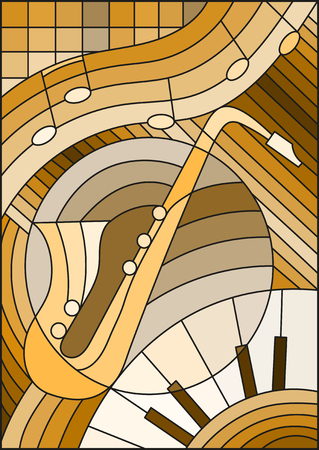 Illustration in stained glass style on the subject of music , the shape of an abstract saxophone on geometric background, brown tone