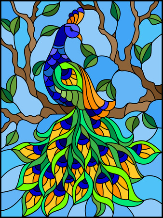 Illustration in stained glass style bird peacock and tree branches on background of blue sky Zdjęcie Seryjne - 90039516
