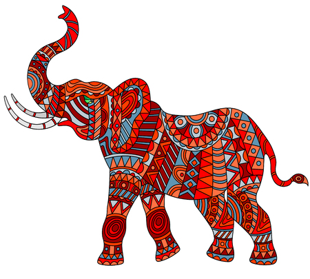 Illustrazione dell'elefante rosso astratto su fondo bianco, isolato