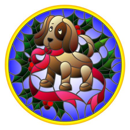 Ilustración en estilo vitral con la cinta de perro y Holly en una imagen redonda de fondo azul