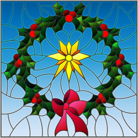 Illustration in stained glass style wreath of Holly and Christmas star on a blue background Illustration